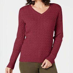 Karen Scott Cable V-Neck Sweater